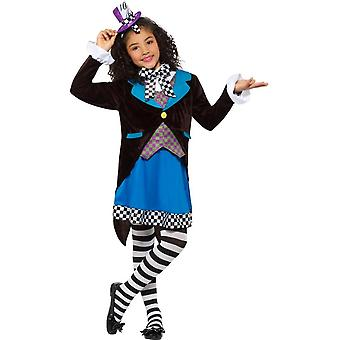 Little Miss Mad Hatter Costume, with Dress,Girls Fancy Dress,Large Age 10-12