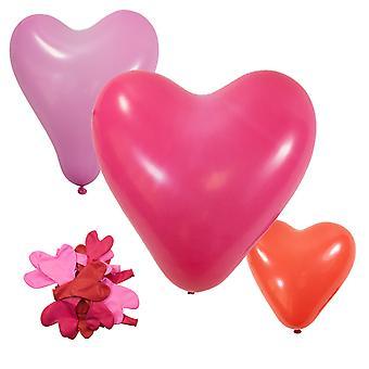 TRIXES coeur en forme de ballons - paquet de 20 - Valentines Engagement Wedding Party Decoration - Rose Rose et rouge