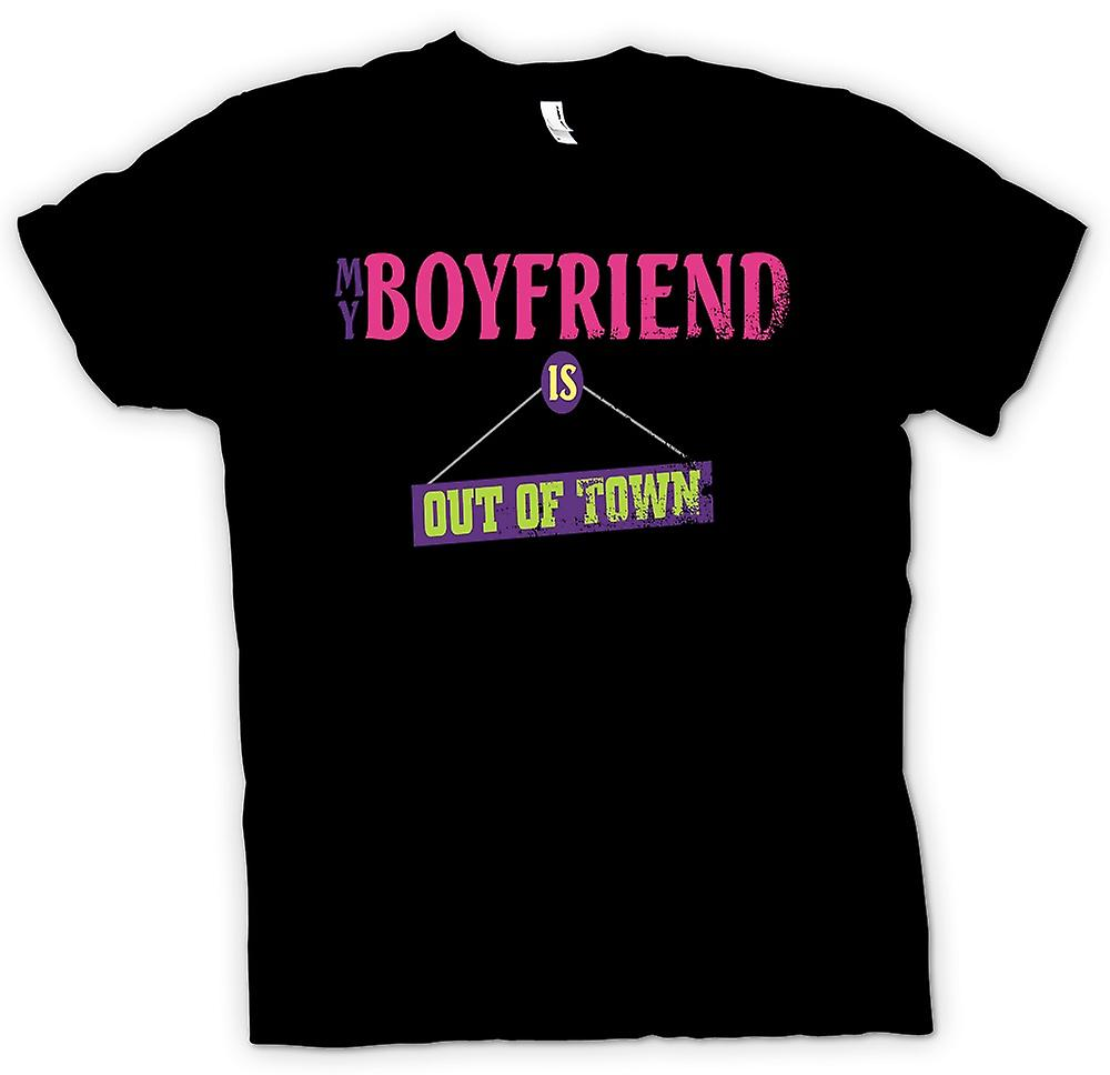 Womens T-shirt - My Boyfriend Is Out Of Town - Joke