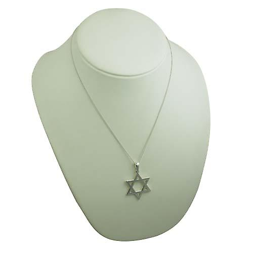 Silver 37x37mm plain Star of David Pendant with a curb Chain 20 inches
