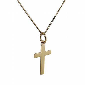 9ct Gold 16x10mm plain flat latin Cross with a curb Chain 20 inches