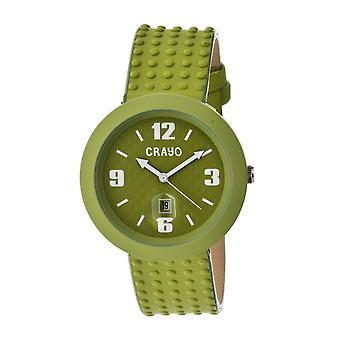 Crayo Jazz Leather-Band Unisex Watch w/ Date - Green