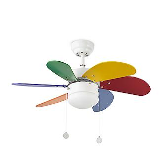 Faro - Palao Small White And Multi-Colour Ceiling Fan With Light FARO33179