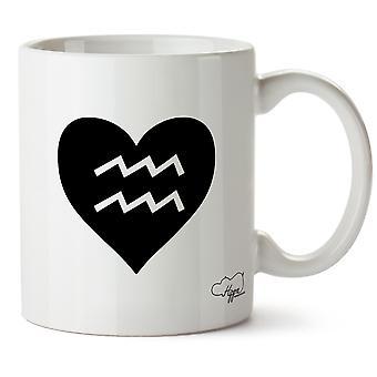 Hippowarehouse hjertet Aquarius trykt krus Cup keramiske 10 Unzen