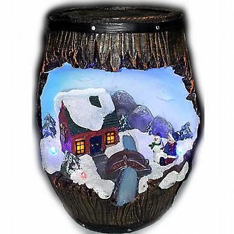Ha portato luce inverno neve scena resina cofanetto barile decorazione ritratto Natale (WSL631213PO)