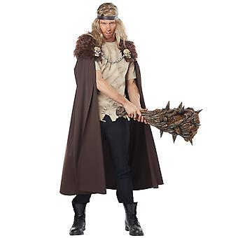 Warlord Viking Medieval Warrior Renaissance Brown Men Costume Cape