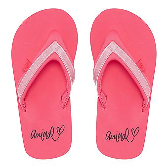 Animal Girls Swish Slim Flip Flops | Paradise Pink
