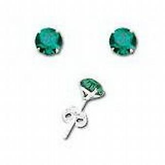 925 Sterling Silver Emerald Green Crystal 6mm Solitaire Stud Earrings by TOC