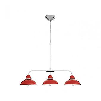Premier Home Jasper Pendant Light, Chrome, Stainless Steel, Red
