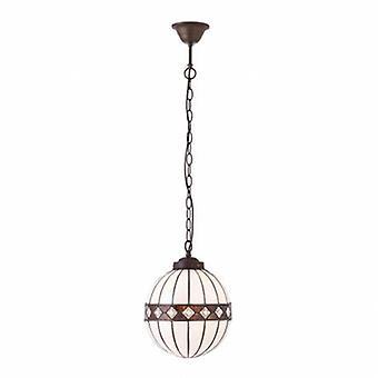 1 Light Small Globe Ceiling Pendant Dark Bronze, Tiffany Glass