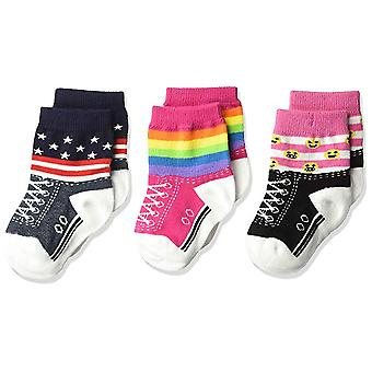 Kids's Crew Socks - K Bell - Rainbow Stripe Baby 3Pk Infant Fuchsia (12-24)