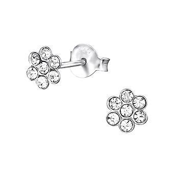 Flower - 925 Sterling Silver Crystal Ear Studs - W25671X