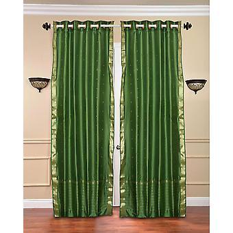 Forest Green Ring Top  Sheer Sari Curtain / Drape / Panel  - Piece