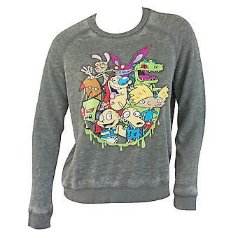 Nickelodeon Squad Women's Grey Crewneck Sweatshirt