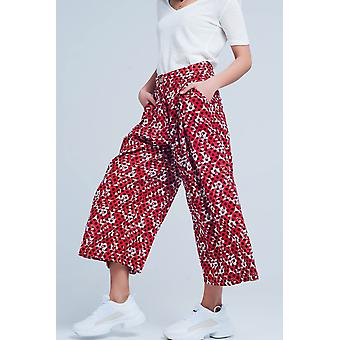 Rot breite Bein fleck culottes Hose