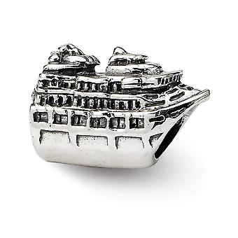 925 Sterling Silver Polished Antique finish Reflections Cruise Ship Bead Charm