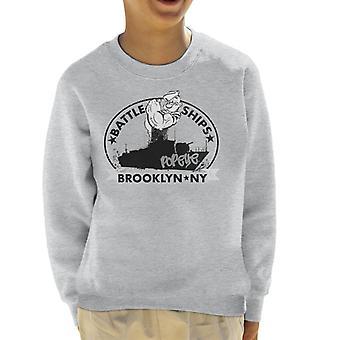 Popeye Battle Ships Brooklyn Kid's Sweatshirt