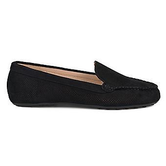 Brinley Co. Womens Comfort Sole Faux Nubuck Laser Cut Loafers