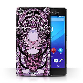 STUFF4 Case/Cover for Sony Xperia M5/Tiger-Purple/Aztec Animal
