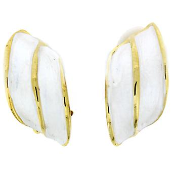 Clip On Earrings Store White Enamel  and  Gold Plated Diamond Wing Shape Clip On