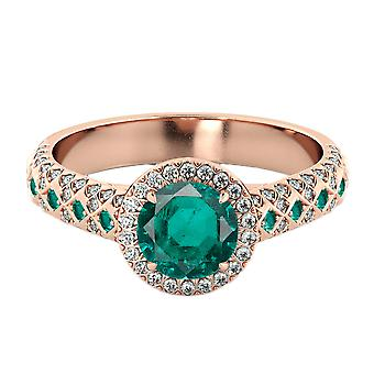 Emerald 2.50 ctw Ring with Diamonds 14K Rose Gold Vintage Micro Pave Halo