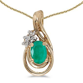 10k Yellow Gold Oval Emerald And Diamond Teardrop Pendant with 16