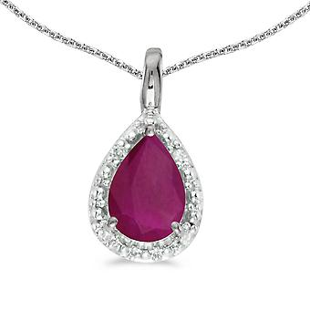 10k White Gold Pear Ruby Pendant with 16