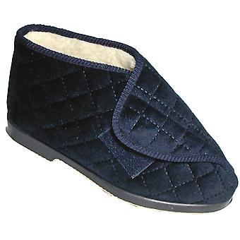 GBS Ladies Bootee Navy Stockholm Touch Fastening Womens Slipper Footwear Shoes