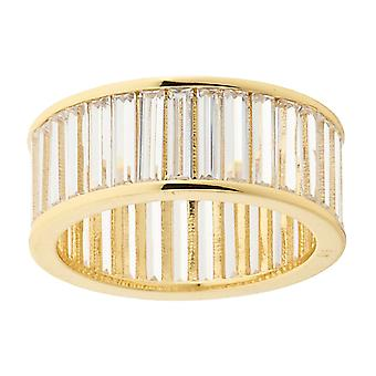 Iced out bling micro pave ring - BAGUETTE STONES gold