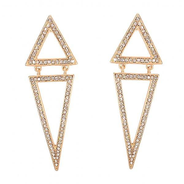 W.A.T Gold Style Pointed Diamond Shaped Crystal Earrings