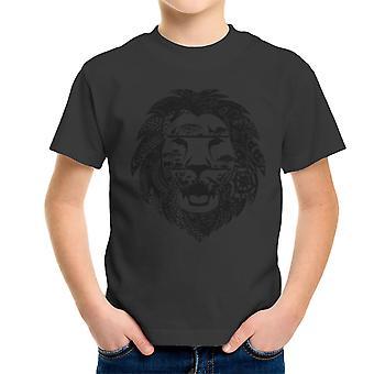 Zentangle Lion Kid's T-Shirt