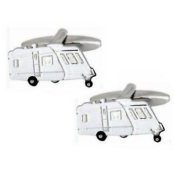 Zennor Caravan Cufflinks - White/Blue