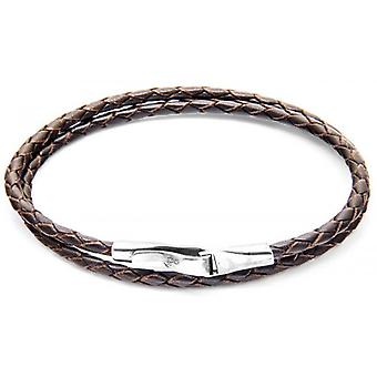 Anchor and Crew Liverpool Silver and Leather Bracelet - Dark Brown