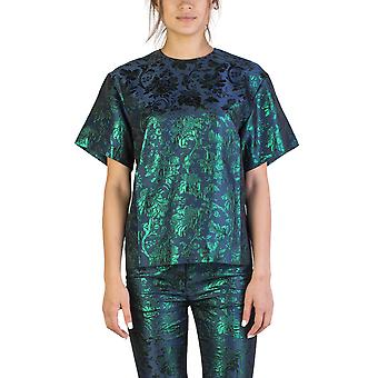 Miu Miu Women's Cotton Blend Floral Acrylic Print Shirt Colbalt Blue