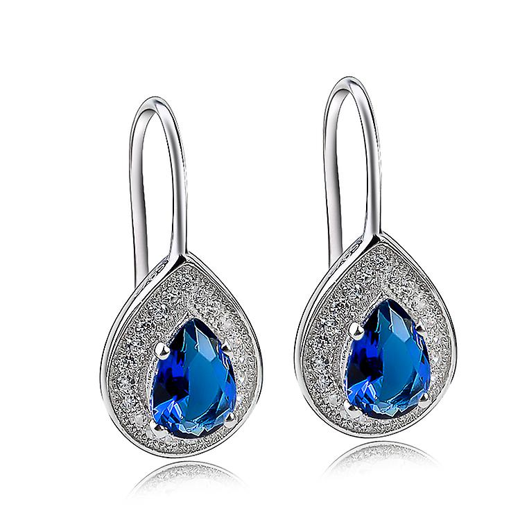 Affici Sterling Silver Drop Earrings 18ct White Gold Plated with Blue Sapphire Peardrop CZ Gems