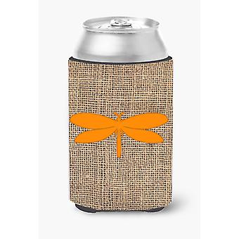 Moth Burlap and Orange Can or Bottle Beverage Insulator Hugger