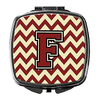 Carolines Treasures  CJ1061-FSCM Letter F Chevron Maroon and Gold Compact Mirror