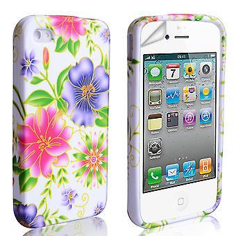 Yousave akcesoria Iphone 4 i 4s kwiatowy żel Case - różowy fioletowy