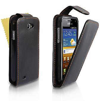 Yousave Accessories Samsung Galaxy W I8150 Black Leather-Effect Flip Case