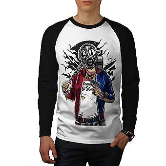 Calle arma guerra Gangster hombres blanco camiseta de (mangas negro) béisbol LS | Wellcoda