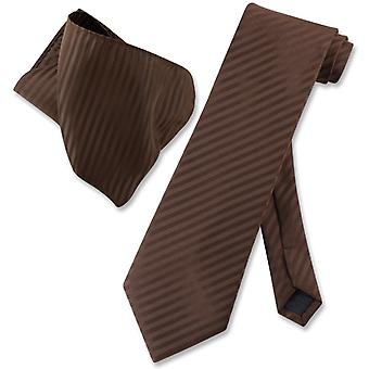 Vesuvio Napoli Striped NeckTie & Handkerchief Matching Neck Tie