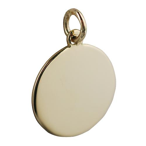 18ct Gold 20mm round plain Disc