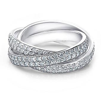2 3/4ct Rolling Ring Diamond Pave Eternity 14K White Gold