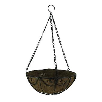Black Scroll Metal Hanging Basket with Coconut Fiber Liner