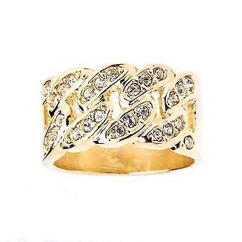 Iced out bling hip hop designer ring - CUBAN CHAIN gold
