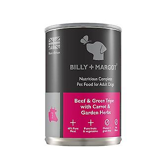 Billy + Margot Nutritious Complete Wet Dog Food - Beef & Tripe -395g tin x 12