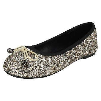 Girls Spot On Glitter Ballerinas H2488 - Gold Glitter - UK Size 2 - EU Size 34 - US Size 3