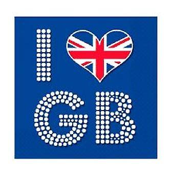 Union Jack jag kärlek GB servetter - 16 per pack