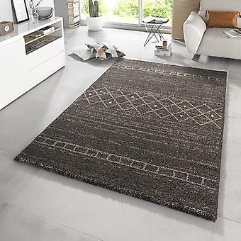 Ontwerp hoge stapel tapijt arceren taupe bruin-grijs