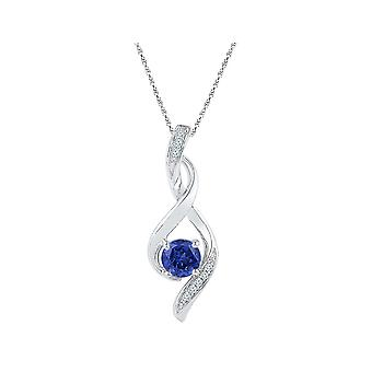 Lab Created Blue Sapphire 5/8 Carat (ctw) Infinity Pendant Necklace in 10K White Gold with Chain